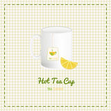 Vector tea cup close up with logo and lemon slices on checkered background Royalty Free Stock Photo