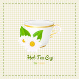 Vector tea cup close up with  white daisy on checkered background Stock Photo