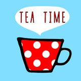 Vector tea cup red with white polka dot pattern and letters. `tea time`, design for cafe or restaurant Royalty Free Stock Photo