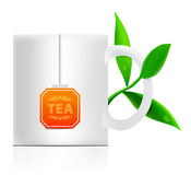 Vector tea mug with teabag label Stock Images