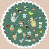 Vector tea mugs, cakes, coffee pots Stock Images