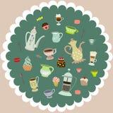 Vector tea mugs, cakes, coffee pots. Vector tea cups, mugs, cakes, coffee pots, candies Royalty Free Illustration