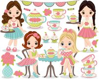 Vector Tea Party Set with Cute Little Girls Having Tea vector illustration
