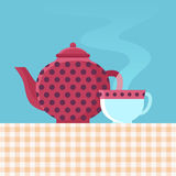Vector tea pot and cup Royalty Free Stock Image