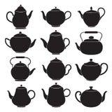 Vector tea pots silhouettes. Stock Images