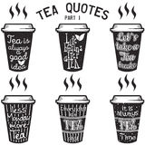 Vector tea quotes and sayings typography set. Vector set of paper cups with tea quotes and sayings lettering. Calligraphy hand written phrases about tea. Vintage Royalty Free Stock Image