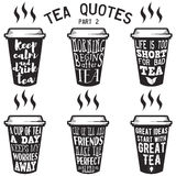 Vector tea quotes and sayings typography set. Vector set of paper cups with tea quotes and sayings lettering. Calligraphy hand written phrases about tea. Vintage Royalty Free Stock Photography