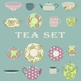 Vector tea set on blue background Stock Photography
