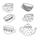 Vector tea set. A collection of stylized cups and teapots. Coffee. Linear Art. Hot drinks. Drawing by hand. Royalty Free Stock Image