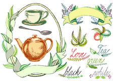 Vector tea theme set,Tea pot with a spoon and a cup, decorative vector with Tea leaves Royalty Free Stock Images
