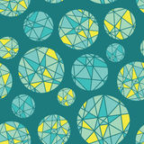 Vector Teal Blue Green Geometric Mosaic Circles With Triangles Repeat Seamless Pattern Background. Can Be Used For Royalty Free Stock Photography