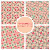 Vector Teal Geometric Retro Square Pattern rosado inconsútil Foto de archivo