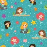 Vector Teal Mermaid Girls Seamless Pattern Background stock illustration