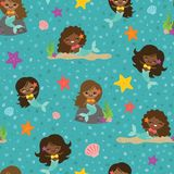 Vector Teal People of Color Mermaid Girls Seamless Pattern Background stock illustration