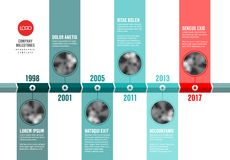 Vector teal and red  Infographic Company Timeline Template Stock Image