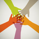 Vector team hands. Vector illustration of team hands Stock Images