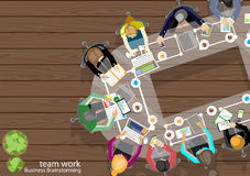 Vector team work businessman Brainstorming Analysis of the marketing plan with pencils, pens, paper files Tablet Notebook task. Royalty Free Stock Photography