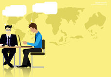 Vector team work Businessman brainstorming to think globally and meeting with world maps used in business applications flat design Stock Photo