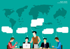 Vector team work Businessman brainstorming to think globally and meeting with world maps used in business applications flat design Stock Photos