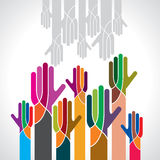 Vector of teamwork with hands Royalty Free Stock Photo