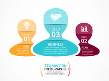 Vector teamwork infographic. Template for diagram, graph, presentation and chart. Business concept with 3 options, parts Stock Photography