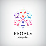Vector teamwork, social net, people together icon Royalty Free Stock Photography
