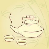 Vector teapot with bamboo background Royalty Free Stock Image