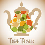 Vector teapot with leaves pattern. Tea time. Fashion illustration Royalty Free Stock Images