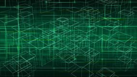 Vector tech abstract background with futuristic lines and transparent cubes. Techno design of future, minimalism. Royalty Free Stock Photo