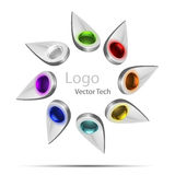 Vector tech logo white Royalty Free Stock Photo
