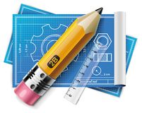 Vector technical drawing XXL icon Stock Photos