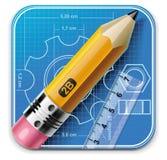 Vector technisch tekenings vierkant pictogram XXL Stock Afbeelding