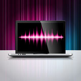 Vector technology styled illustration with shiny laptop device on color background. Stock Images