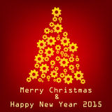 Vector technology merry christmas. On red background vector illustration