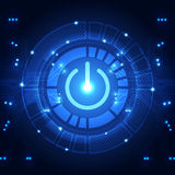 Vector technology power button abstract background, illustration. Innovation royalty free illustration