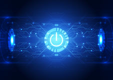 Vector technology power button abstract background, illustration Royalty Free Stock Photo