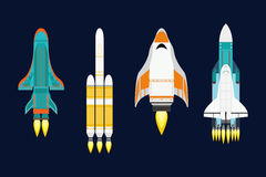 Vector technology ship rocket cartoon design for startup innovation product and cosmos fantasy space launch graphic Stock Images