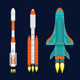 Vector technology ship rocket cartoon design for startup innovation product and cosmos fantasy space launch graphic Stock Photography