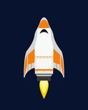 Vector technology ship rocket cartoon design for startup innovation product and cosmos fantasy space launch graphic Stock Image