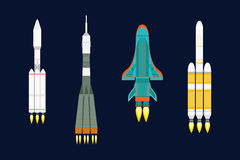 Vector technology ship rocket cartoon design for startup innovation product and cosmos fantasy space launch graphic Stock Photo