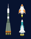 Vector technology ship rocket cartoon design for startup innovation product and cosmos fantasy space launch graphic Stock Photos