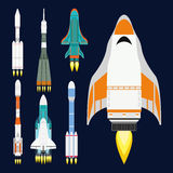 Vector technology ship rocket cartoon design for startup innovation product and cosmos fantasy space launch graphic Royalty Free Stock Images
