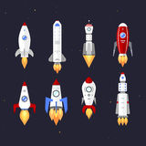 Vector technology ship rocket cartoon design. Royalty Free Stock Photo