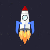 Vector technology ship rocket startup innovation. Royalty Free Stock Image
