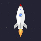 Vector technology ship rocket startup innovation. Royalty Free Stock Photo