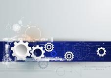 Vector a tecnologia futurista, roda de engrenagem do Livro 3d Branco na placa de circuito Foto de Stock Royalty Free