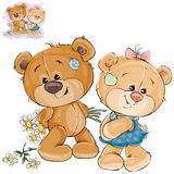 Vector teddy bear hides behind back a bouquet of flowers and does not dare to give them to her girlfriend. Stock Image