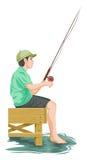 Vector of teenage boy fishing. Stock Image