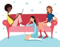 Vector Teenage Girl's Working Together Laptops Illustration  Stock Images