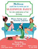 Vector Teenage Girls Birthday Party Ilvitation Card With Three Pretty Friends Celebrating Eating Cake On Couch. Perfect. For a fun sleepover or pajama event Stock Photo
